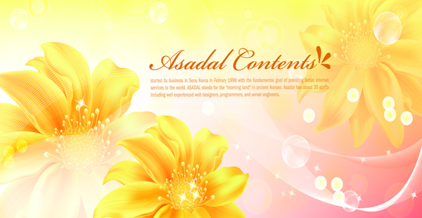 yellow style flower background vector