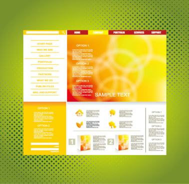 yellow style website theme template vector