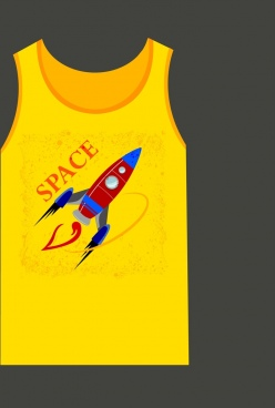 yellow tshirt template grungy design rocket icon