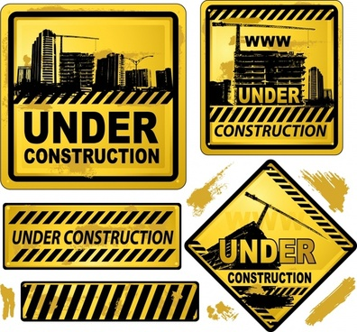 construction sign templates classic grunge black yellow decor