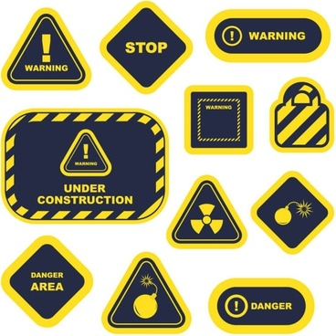 yellow warning signs and labels 02 vector
