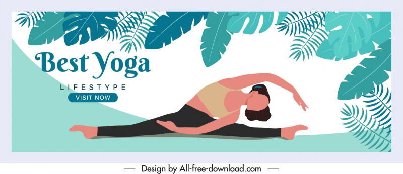 yoga advertising banner leaves exercise lady sketch