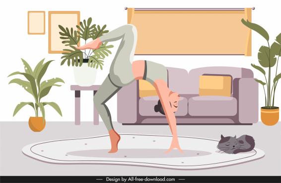 yoga background template balance gesture sketch cartoon design