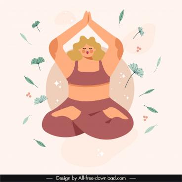 yoga background template classic flat sketch cartoon design