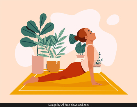 yoga background template stretching woman sketch cartoon design