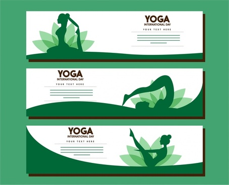 Yoga Banner Sets Female Gestures In Green Design