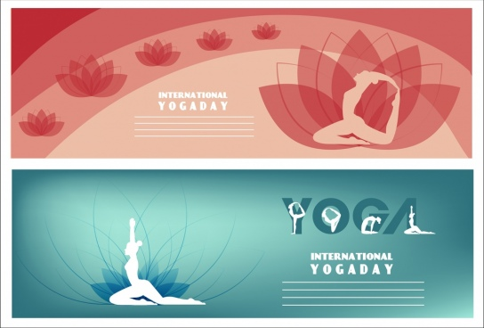 yoga banner templates human silhouette lotus icons decoration