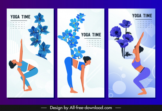 yoga banner templates woman exercising gestures cartoon characters