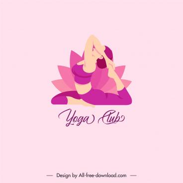 yoga club logotype lady stretch lotus sketch