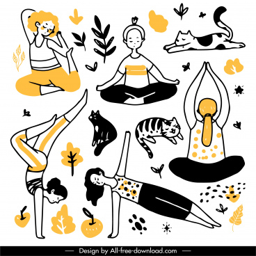 yoga drawing exercising gestures cat nature elements sketch