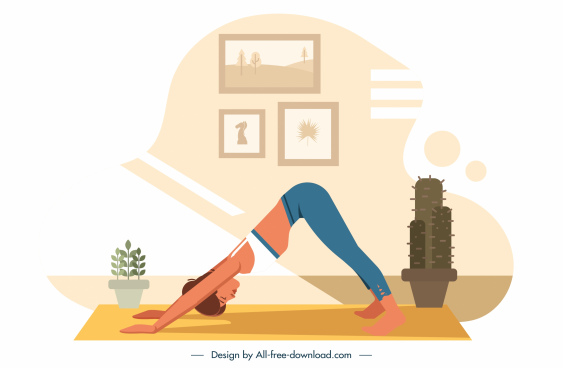 yoga fitness painting exercising woman sketch cartoon design