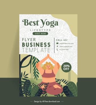 yoga flyer template woman leaves decor elegant design