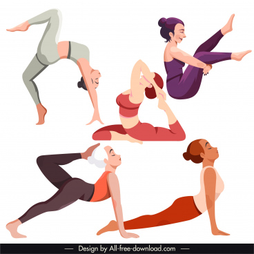 yoga gestures icons cartoon characters sketch