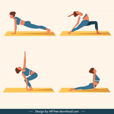 yoga gestures icons exercising woman sketch cartoon characters