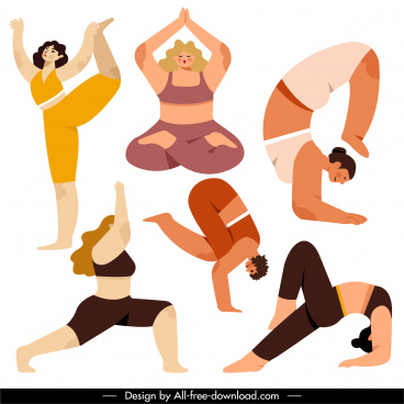 yoga gestures icons stretching balance sketch cartoon characters