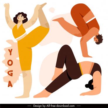 yoga gestures icons women sketch flat classic design