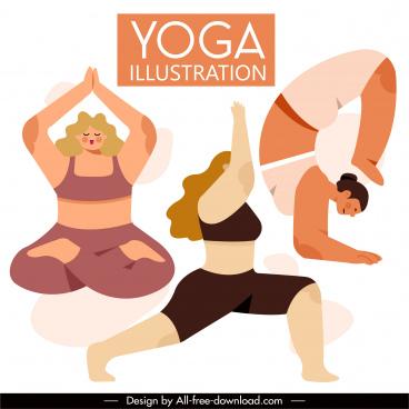 yoga icons women balance gestures sketch