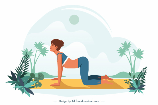yoga painting exercising woman icon cartoon design