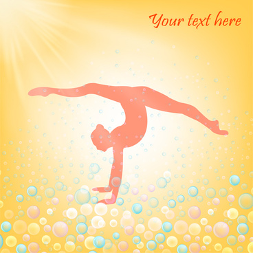 yoga poster with exercising human and light beams