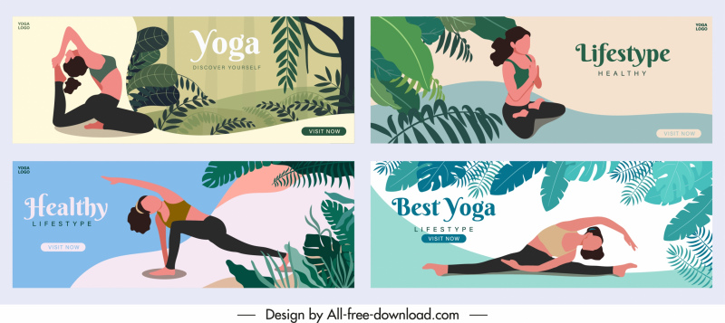 yoga posters templates exercising woman sketch natural scene