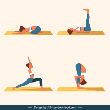 yoga postures templates colored cartoon characters