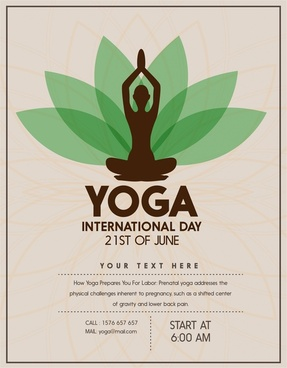 yoga promotion banner design with practicing woman silhouette