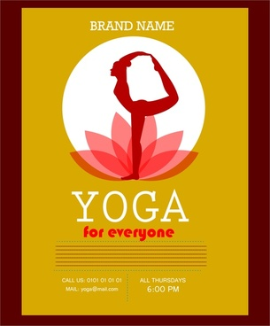 yoga promotion banner practicing female and lotus design