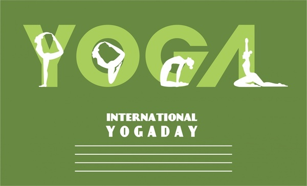 yoga promotion banner text and human gestures design