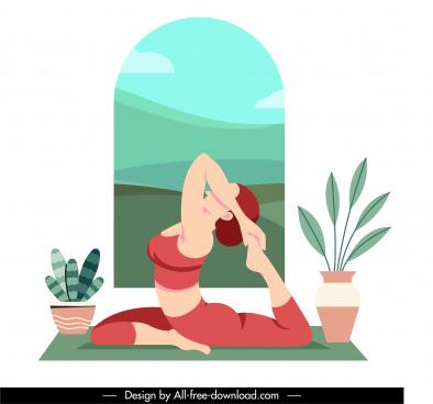 yoga sport icon stretching woman sketch cartoon design