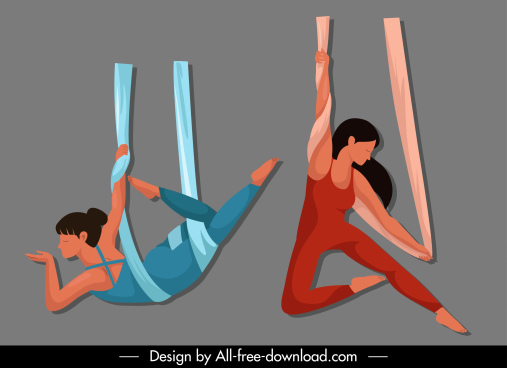 yoga sports icons dynamic cartoon sketch