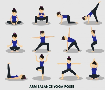 yoga vector illustration with various arm balance positions