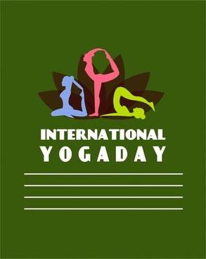 yogaday banner female doing exercise silhouette style
