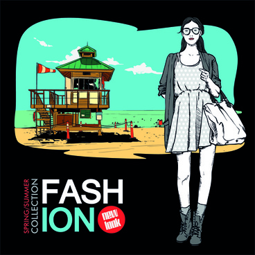 young fashion elements poster vector