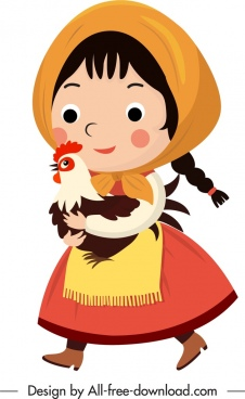 young girl icon traditional dress sketch cartoon design