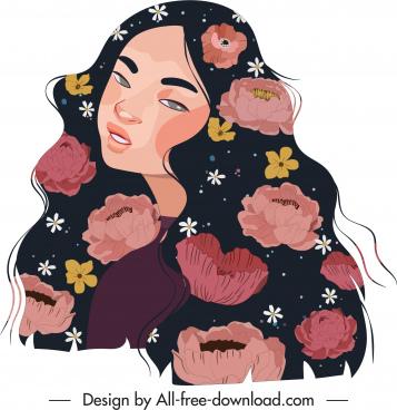 young girl painting petals decor classical design