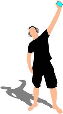 young man with music vector illustration