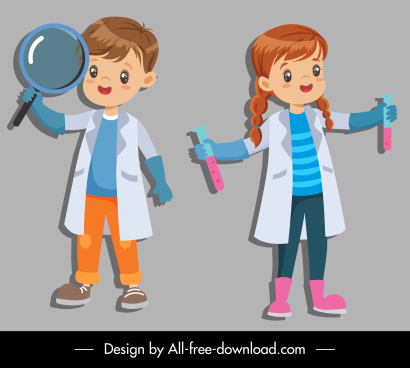 young scientist icons cute kid lab tools sketch