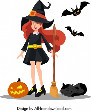 young witch icon cute girl sketch cartoon character