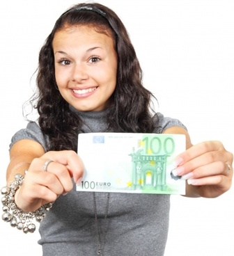 young woman with euros