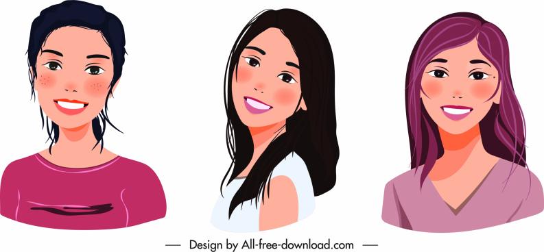 young women portrait icons cute cartoon sketch