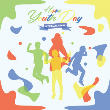 youth day people silhouette with colorful backgrounds