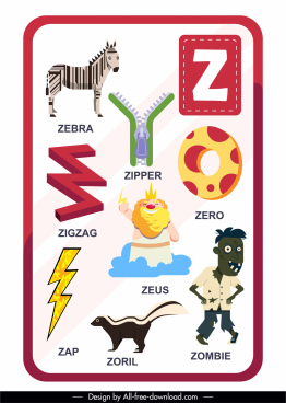z alphabet education template colored symbols sketch