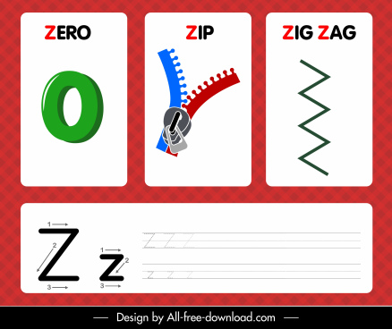 z alphabet teaching template zero zip zigzag shapes