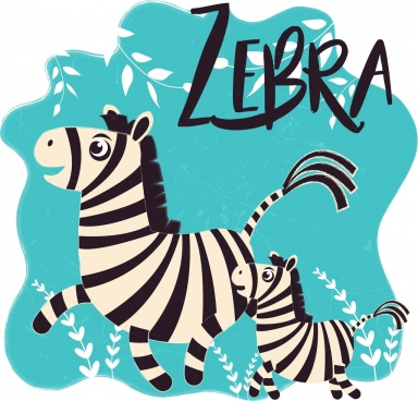 zebra drawing cute cartoon design