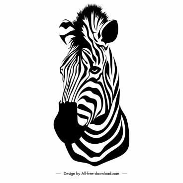 zebra head icon black white closeup handdrawn sketch