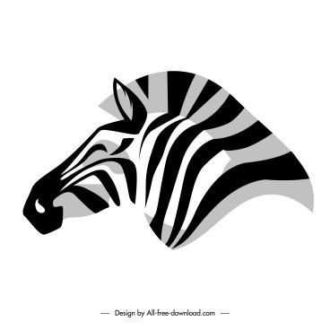 zebra head icon black white flat handdrawn sketch