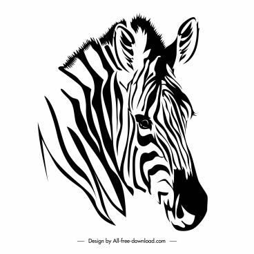 zebra head icon black white handdrawn sketch