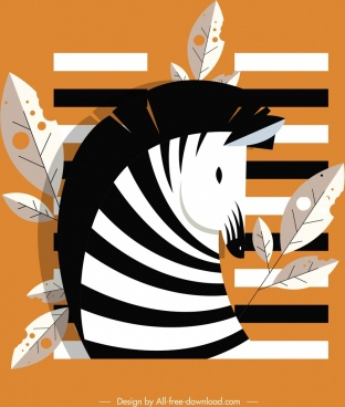 zebra head icon black white stripes leaves decor