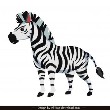 zebra horse icon colored cartoon sketch