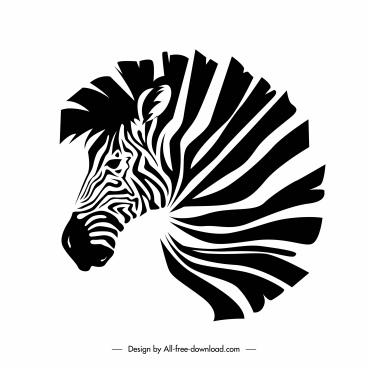 zebra icon black white handdrawn classic sketch